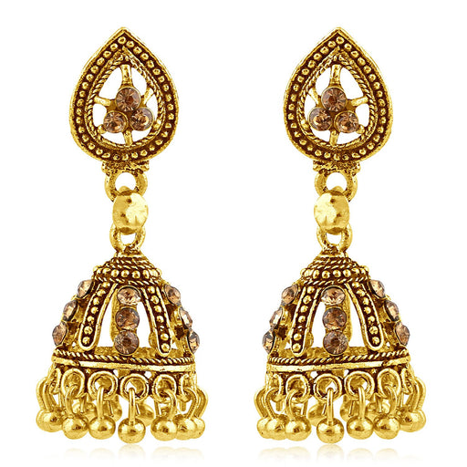 Sukkhi Classic Gold Plated Brown Studded Jhumki Stone Earring For Women