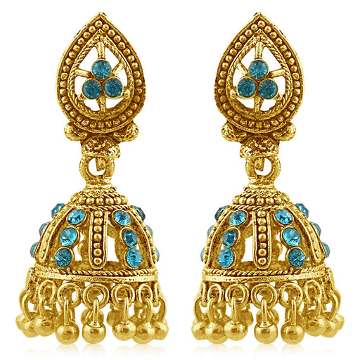 Sukkhi Magnificent Gold Plated Aqua Studded Jhumki Stone Earring For Women