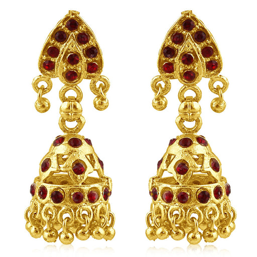 Sukkhi Lavish Gold Plated Maroon Studded Jhumki Stone Earring For Women