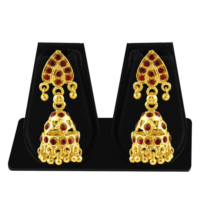Sukkhi Lavish Gold Plated Maroon Studded Jhumki Stone Earring For Women-1