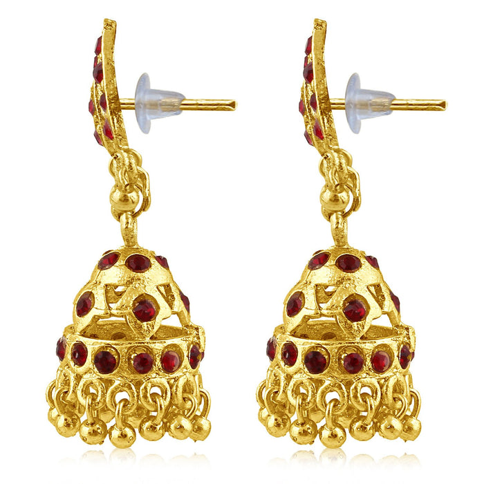 Sukkhi Lavish Gold Plated Maroon Studded Jhumki Stone Earring For Women-2