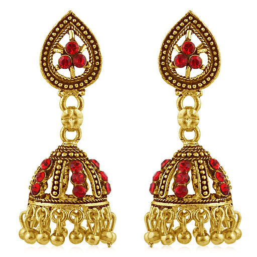 Sukkhi Marvellous Gold Plated Red Studded Jhumki Stone Earring For Women