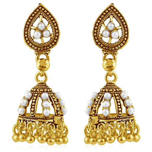 Sukkhi Graceful Gold Plated White Studded Jhumki Stone Earring For Women