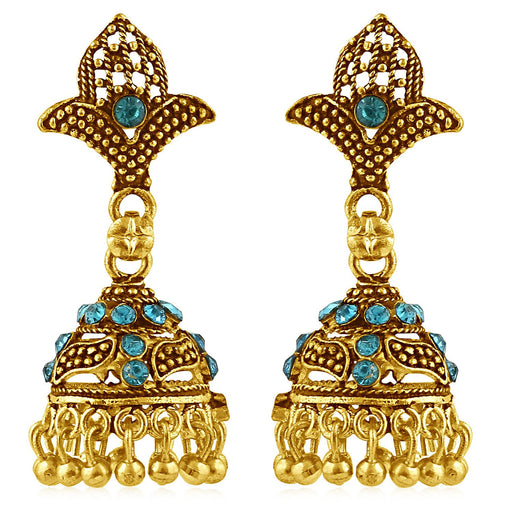 Sukkhi Lavish Gold Plated Blue Studded Jhumki Stone Earring For Women