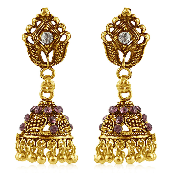 Sukkhi Attractive Gold Plated Purple Studded Jhumki Stone Earring For Women