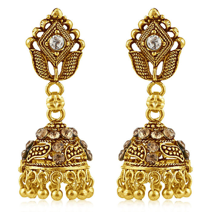 Sukkhi Trendy Gold Plated Brown Studded Jhumki Stone Earring For Women