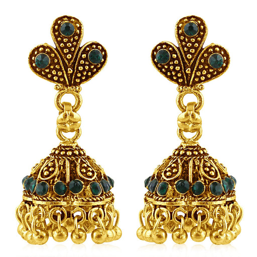 Sukkhi Stylish Gold Plated Green Studded Jhumki Stone Earring For Women