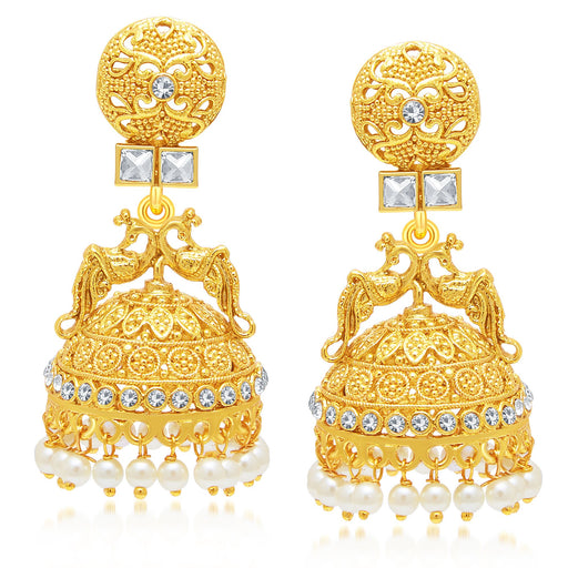 Sukkhi Beguiling Peacock Gold Plated Jhumki Earring For Women