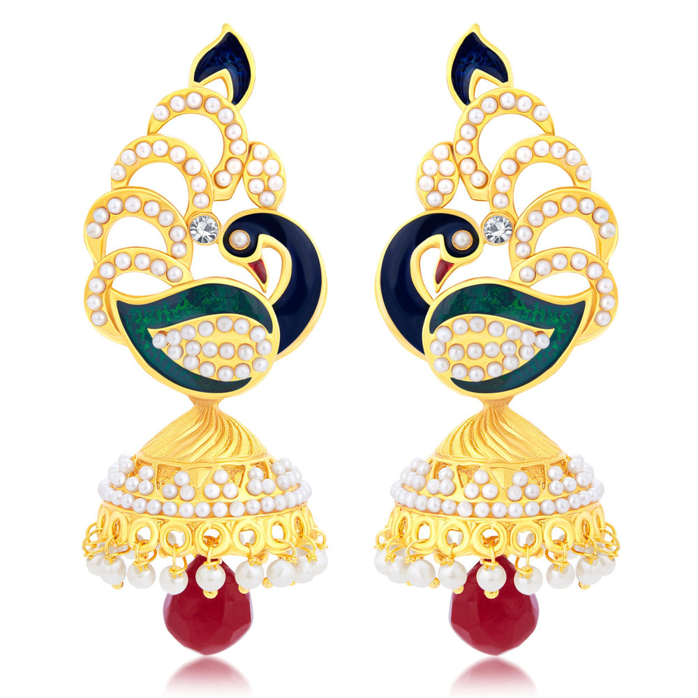 Sukkhi Blossomy Peacock Gold Plated Jhumki Earring For Women