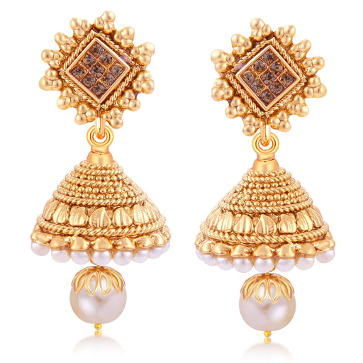 Sukkhi Glittery Gold Plated Jhumki Earring For Women