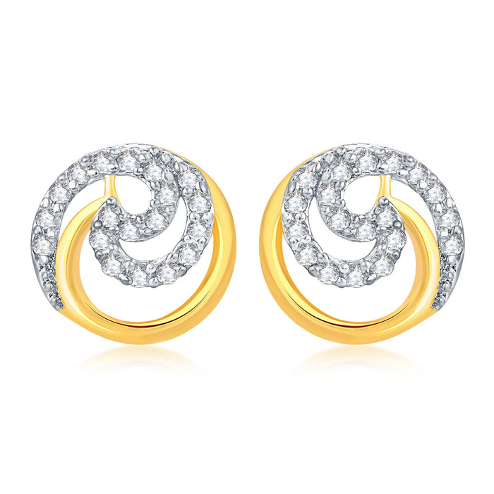 Pissara Excellent Gold Plated Stud CZ Earring For Women