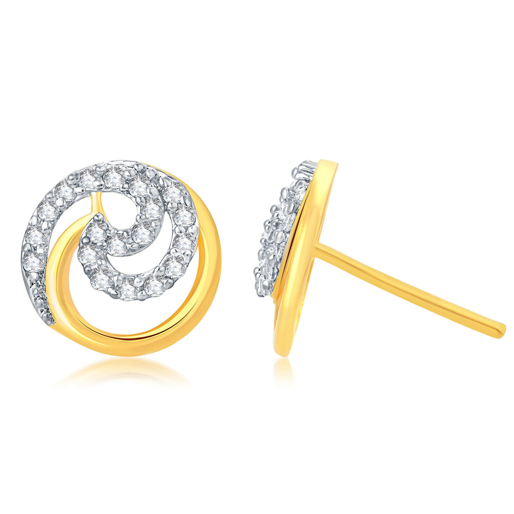 Pissara Excellent Gold Plated Stud CZ Earring For Women-1