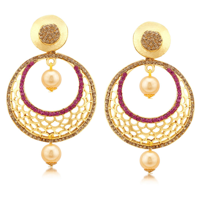 Sukkhi Dazzling Gold Plated LCT Stone Chandbali Earrings For Women