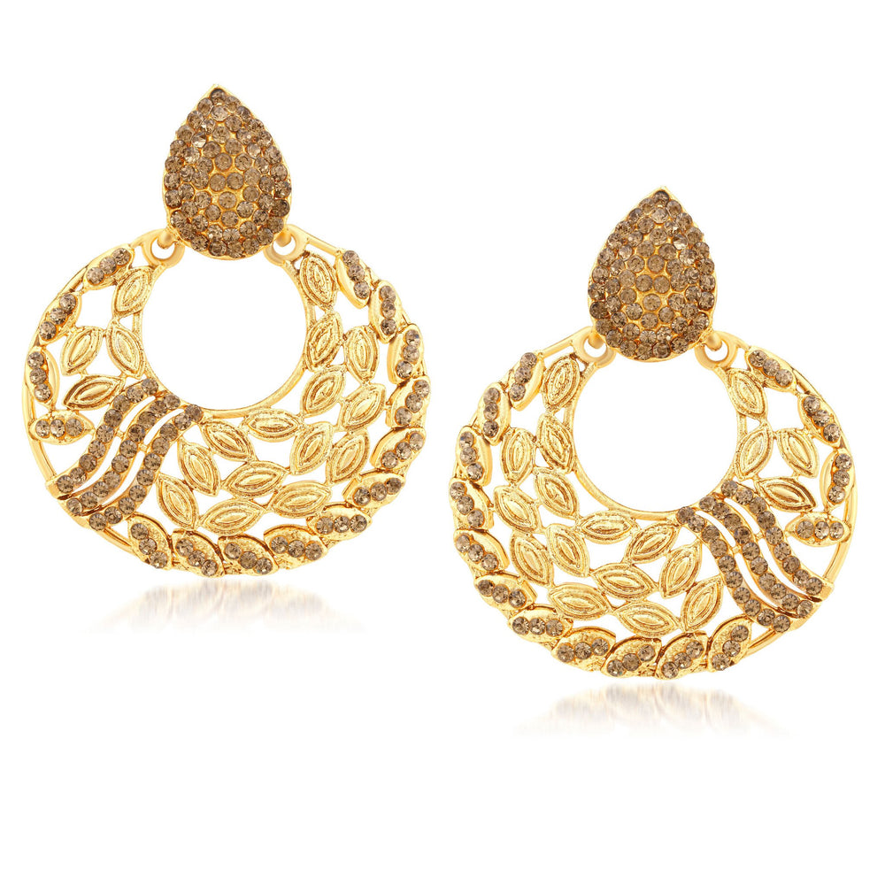 Sukkhi Stunning Gold Plated LCT Stone Chandbali Earrings For Women