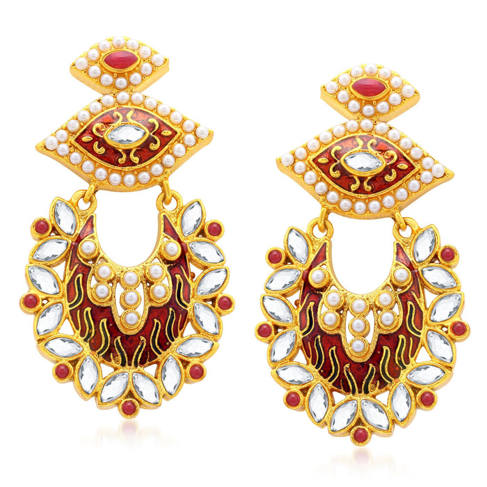 Sukkhi Divine Gold Plated AD Dangle Earrings For Women
