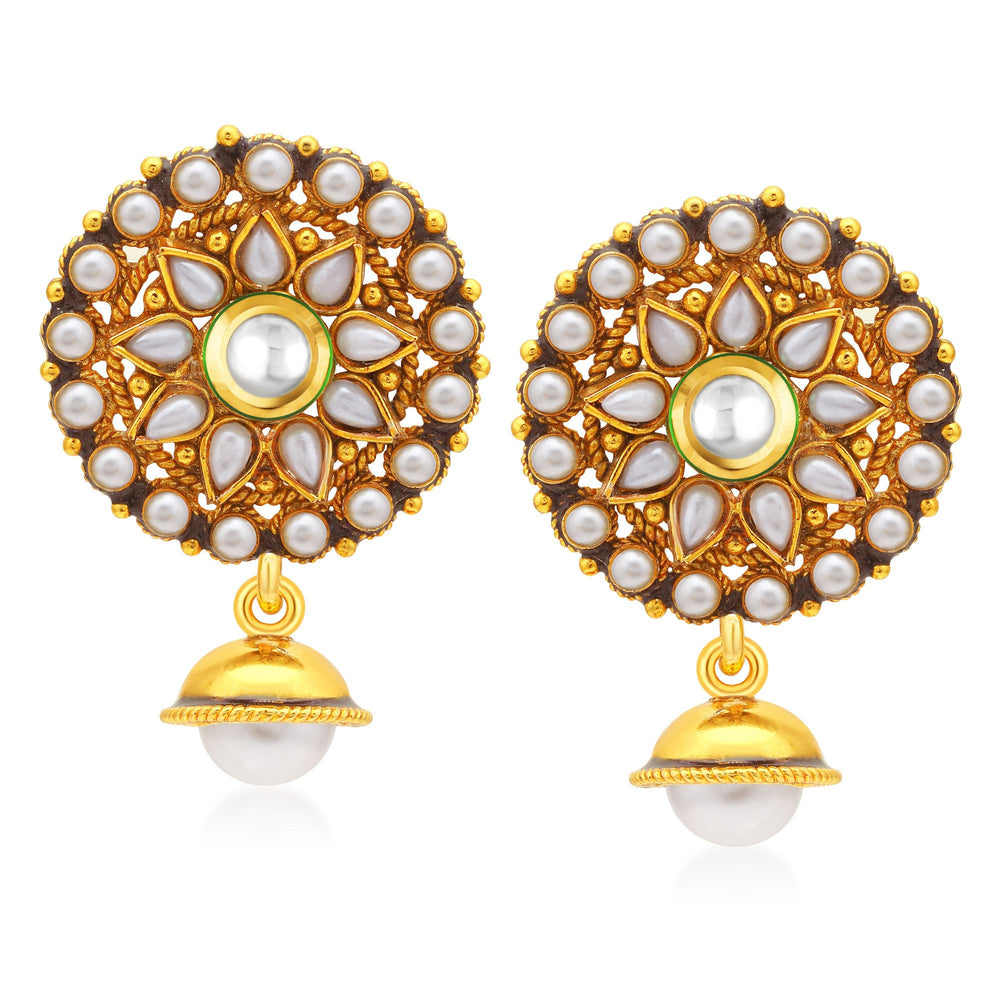 Sukkhi Shimmering Gold Plated Dangle Earrings For Women