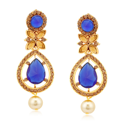 Sukkhi Ethnic Gold Plated LCT Stone Dangle Earrings For Women