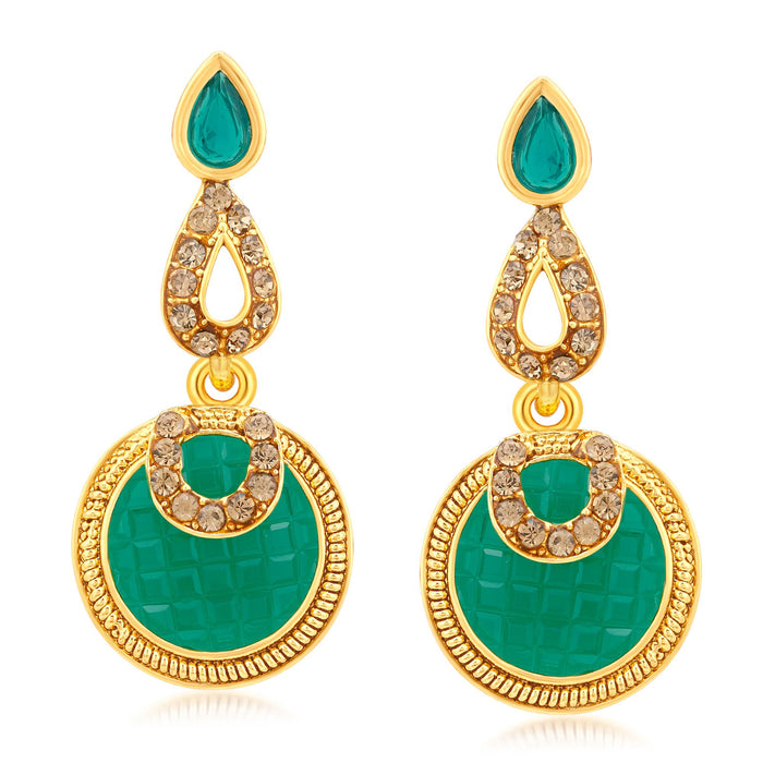 Sukkhi Gorgeous  Gold Plated LCT Stone Dangle Earrings For Women