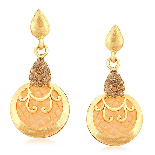 Sukkhi Royal  Gold Plated LCT Stone Dangle Earrings For Women