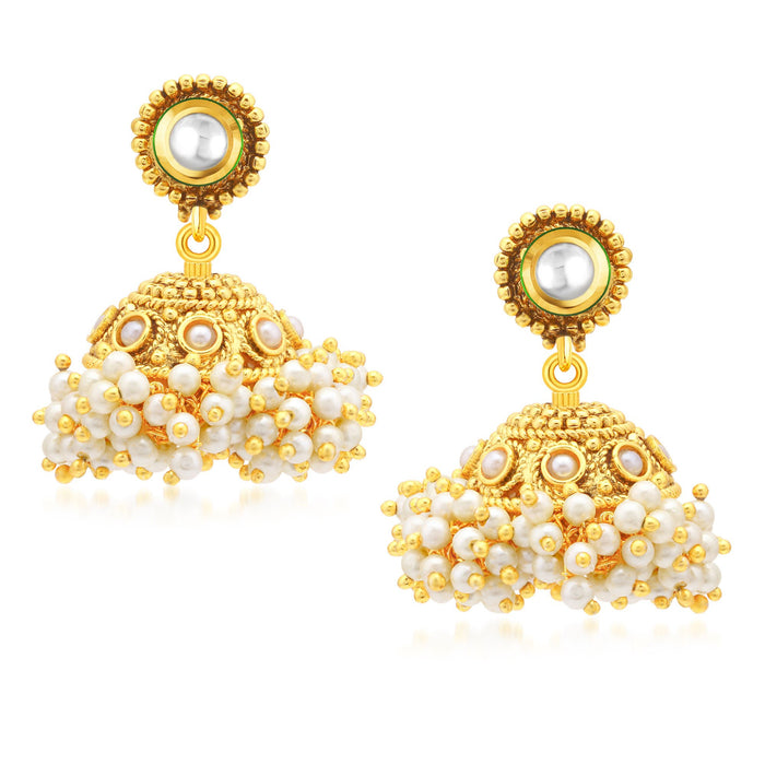 Sukkhi Glistening Gold Plated Jhumki Earrings For Women