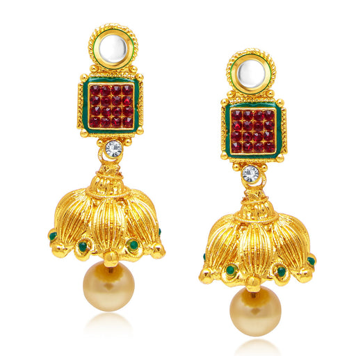 Sukkhi Marquise Gold Plated Jhumki Earrings For Women