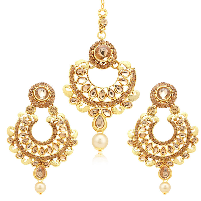 Sukkhi Angelic Gold Plated LCT Stone Earrings With Mangtikka For Women