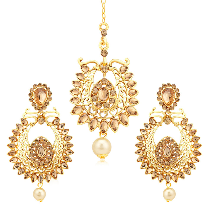 Sukkhi Amazing Gold Plated LCT Stone Earrings With Mangtikka For Women