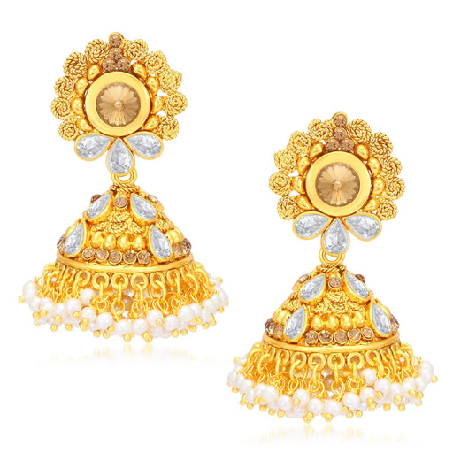 Sukkhi Incredible Jalebi Gold Plated AD With LCT Stone Jhumki Earrings For Women