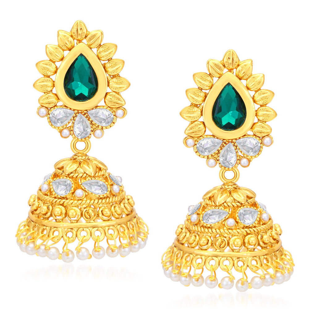 Sukkhi Modish Gold Plated AD Jhumki Earrings For Women