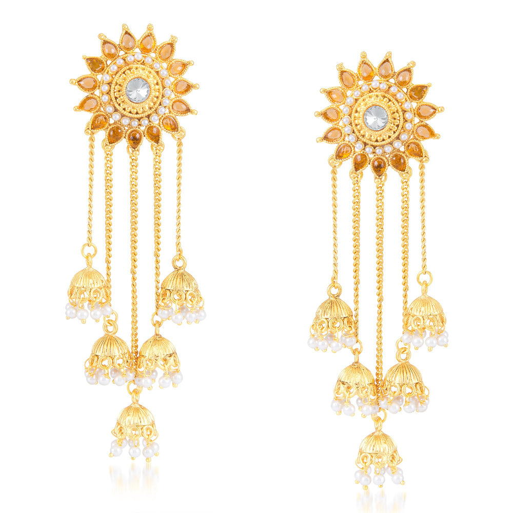 Sukkhi Classy Floral Gold Plated Zhumki Earring for Women