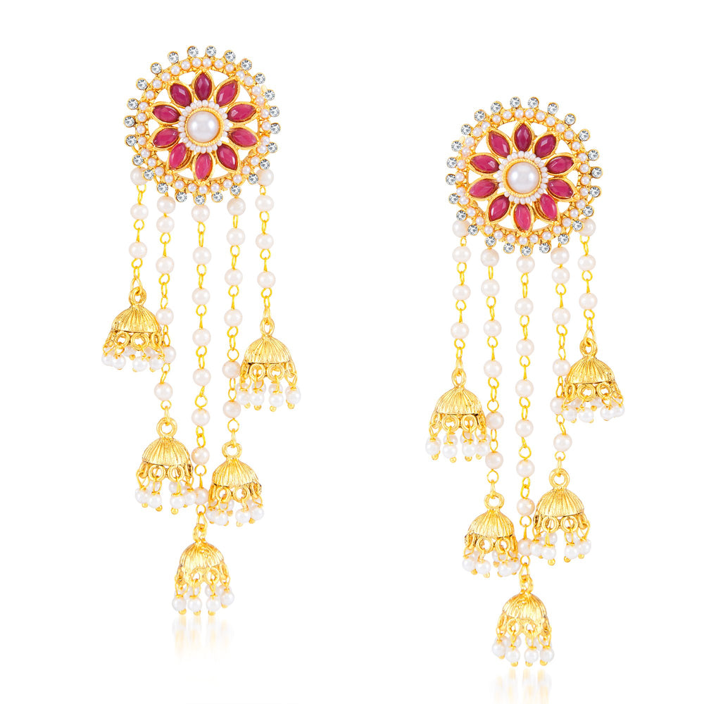 Sukkhi Traditional Round Shaped Gold Plated Zhumki Earring for Women