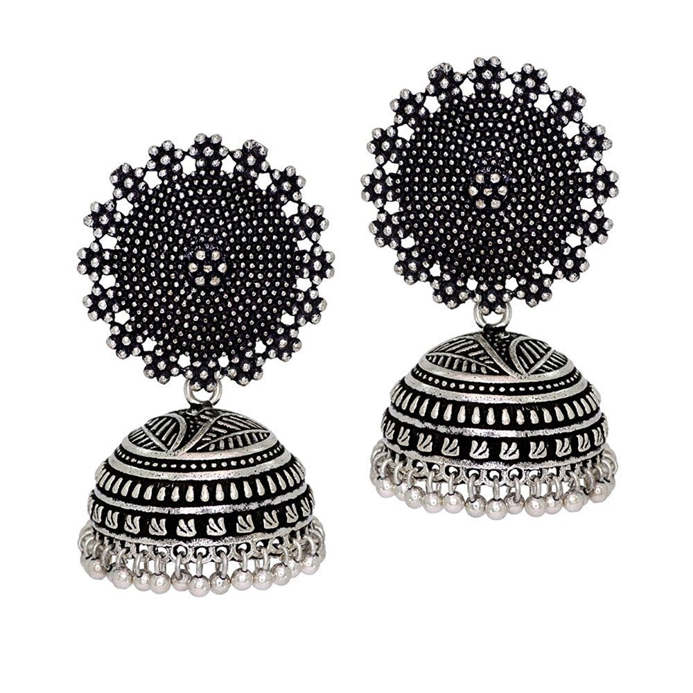 Sukkhi Incredible Oxidised Filigree Jhumkis Earring combo set (Set of 2) - Title