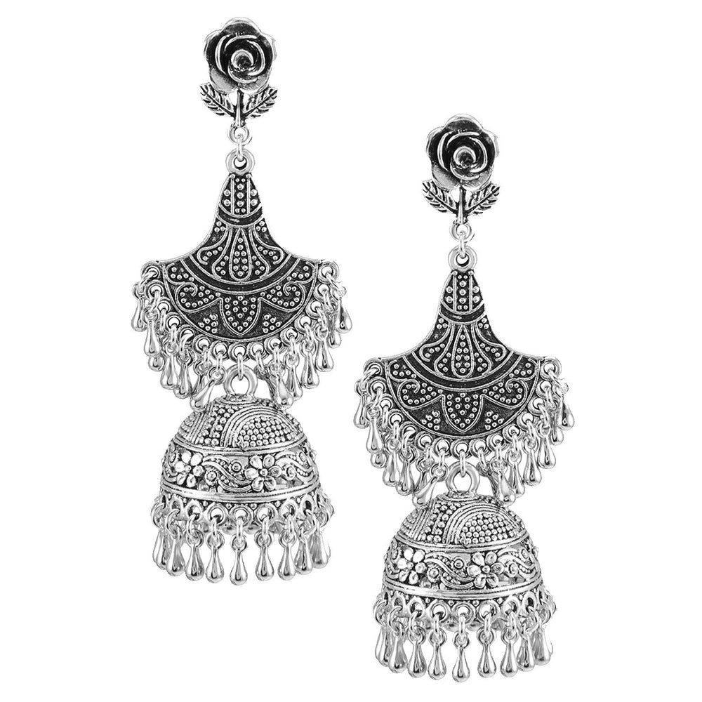 Sukkhi Elegant Oxidised Jhumki Earring Set for women - Title