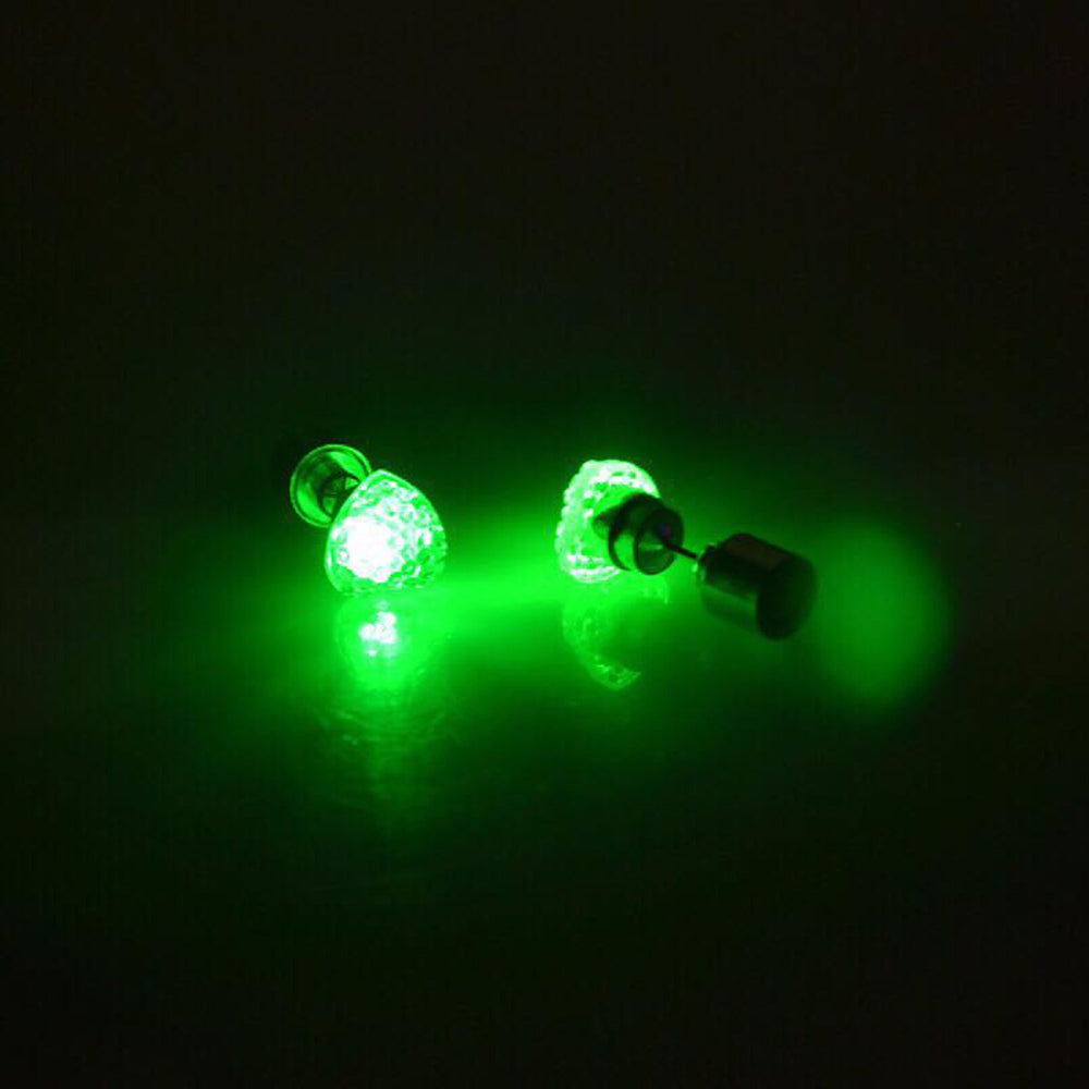 Sukkhi Modish Green Heart Shaped LED Colorful Party Dance Unisex Stud Earring