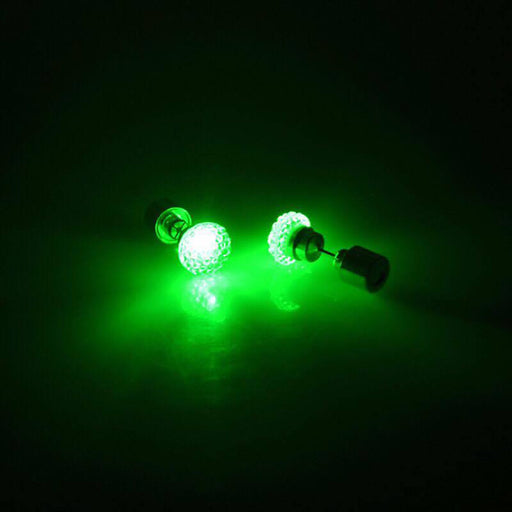 Sukkhi Graceful Round Shaped Green Crystal LED Colorful Party Dance Unisex Stud Earring
