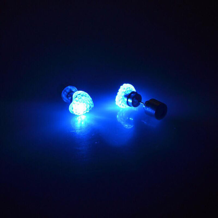 Sukkhi Ritzy Blue Heart Shaped LED Colorful Party Dance Unisex Stud Earring