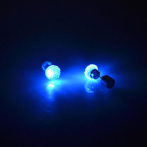 Sukkhi Lavish Blue Round Shaped Crystal LED Colorful Party Dance Unisex Stud Earring