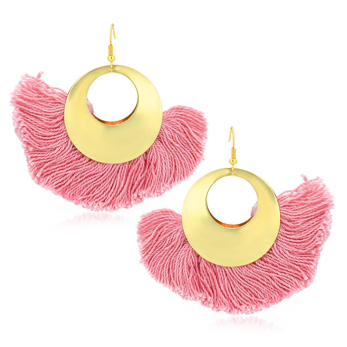 Sukkhi Traditional Pink Tassel Earring for women