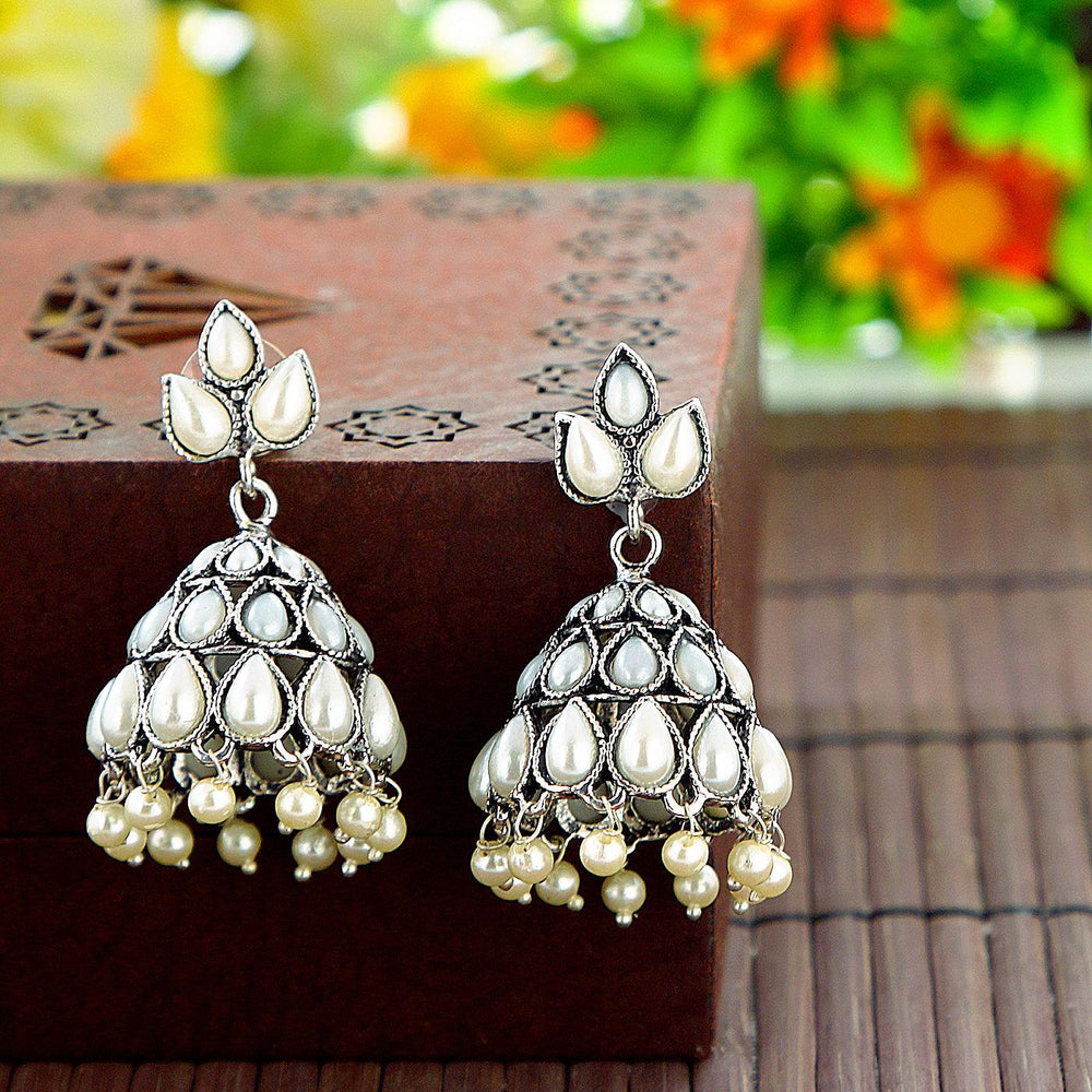 Sukkhi Elegant Rhodium Oxidized pearl jhumki earring For Women