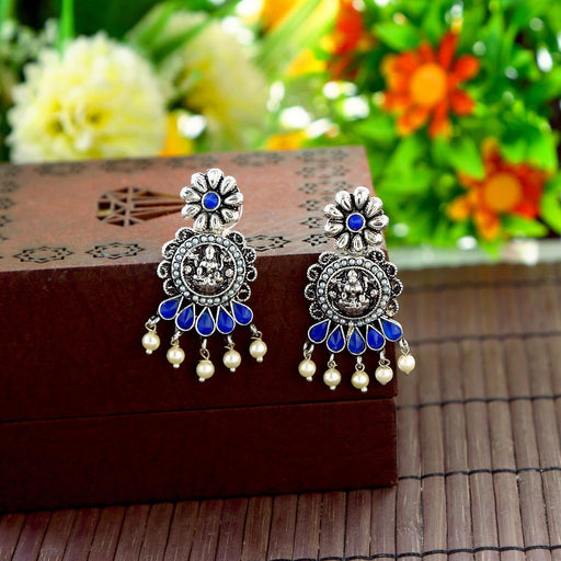 Sukkhi Traditional Rhodium Oxidized Temple Earrings For Women