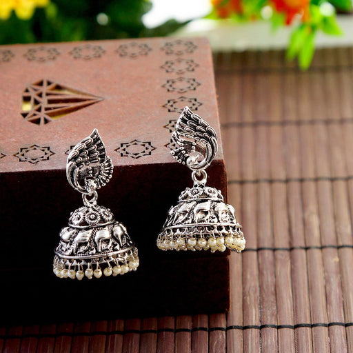 Sukkhi Trendy Peacock Rhodium Oxidized Peacock Jhumki Earrings For Women