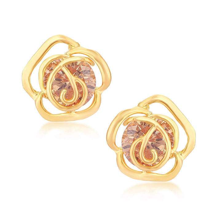 Sukkhi Glimmary Gold Plated Floral Stud Earring for women