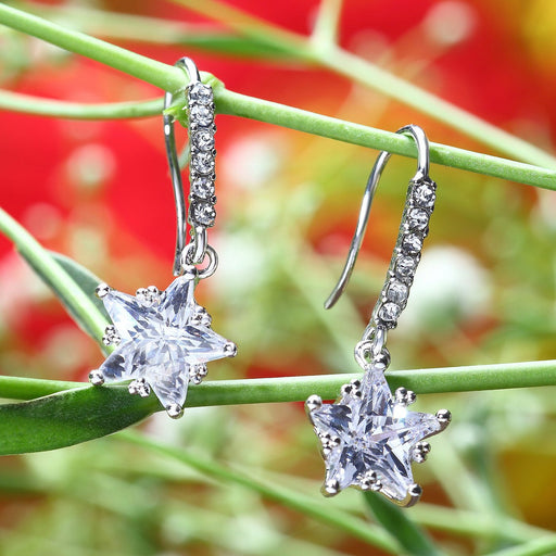Sukkhi Pleasing Rhodium plated star shaped drop earring for women