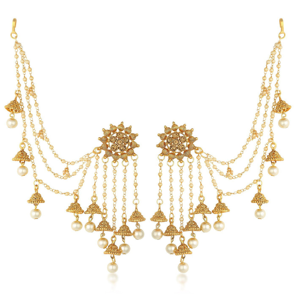 Sukkhi Bahubali Flower Designer Gold Plated Long Chain Jhumki Earrings For Women
