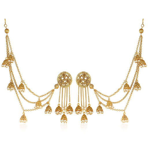 Sukkhi Bahubali Inspired Flower Designer Gold Plated Long Chain Jhumki Earrings For Women