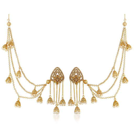 Sukkhi Astonish Bahubali Flower Designer Gold Plated Long Chain Jhumki Earrings For Women
