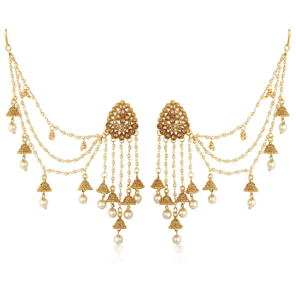 Sukkhi Bahubali Inspired Earrings With Beads Chain Jhumki Earring For Women
