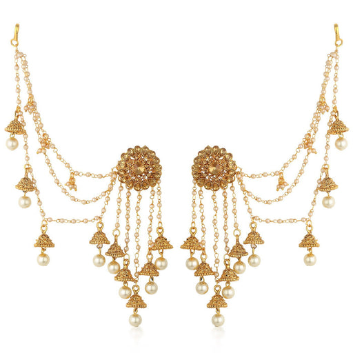 Sukkhi Gold Plated Earrings With Hair Chain For Women