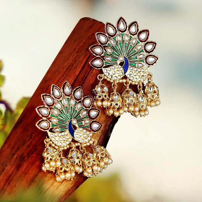 Sukkhi Peacock Multi Jhumki Earrings For Women