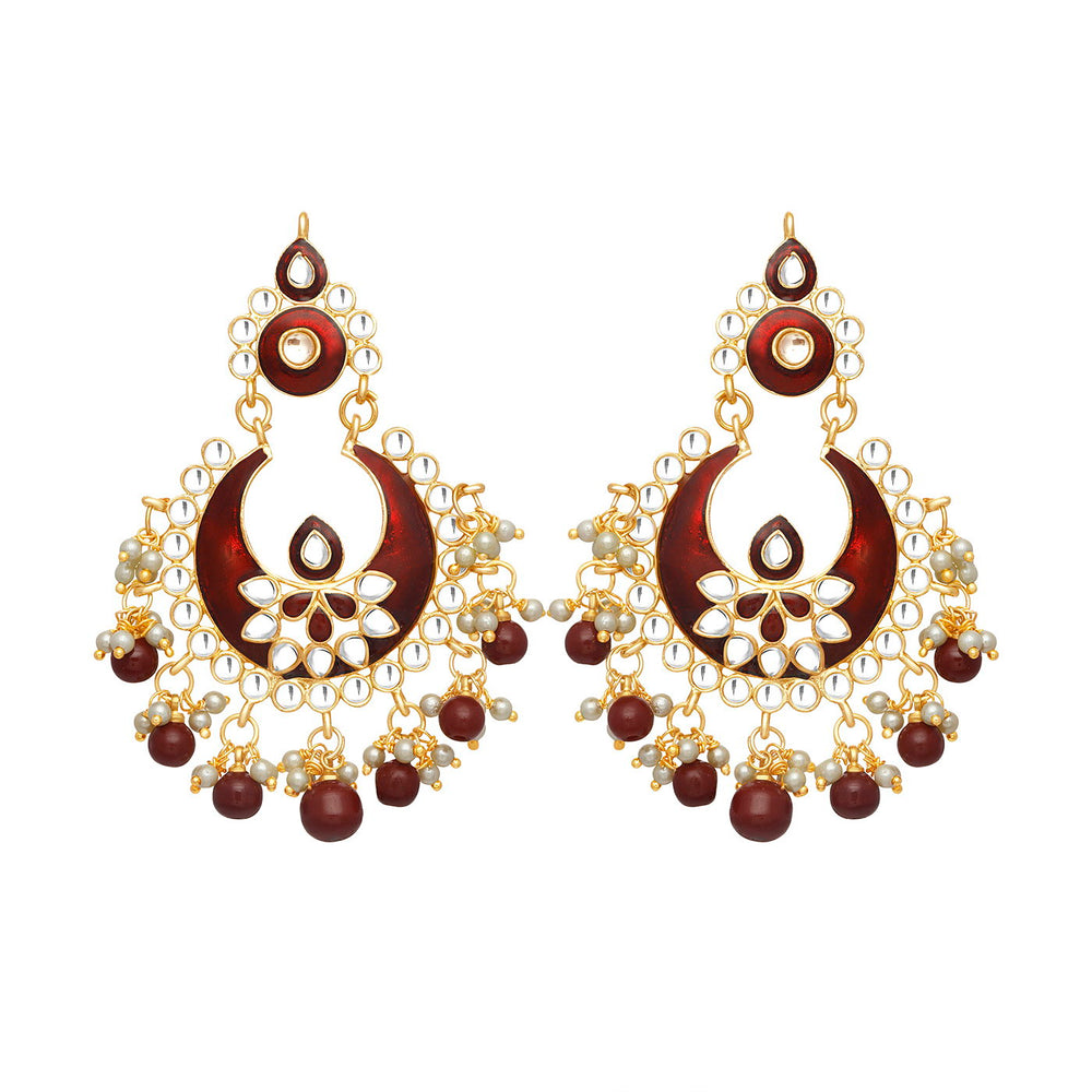 Sukkhi Astonish Gold Plated Meenakari Chandbali Earring for Women